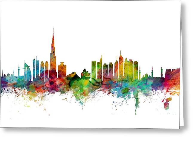 Cityscape Greeting Cards - Dubai Skyline Greeting Card by Michael Tompsett