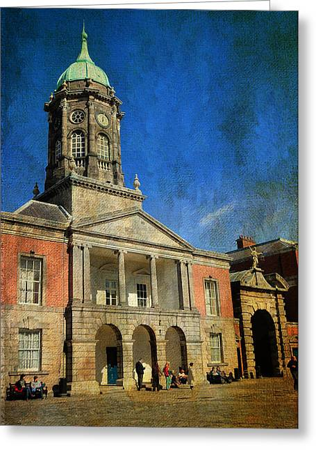 Watch Tower Greeting Cards - Dublin Castle. Streets of Dublin. Painting Collection Greeting Card by Jenny Rainbow