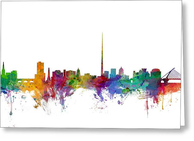 Ireland Greeting Cards - Dublin Ireland Skyline Greeting Card by Michael Tompsett