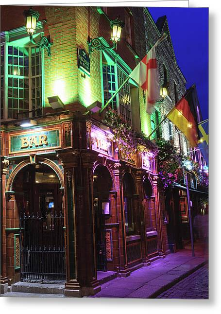 Dublin, Ireland Temple Bar Area Greeting Card by Tom Norring
