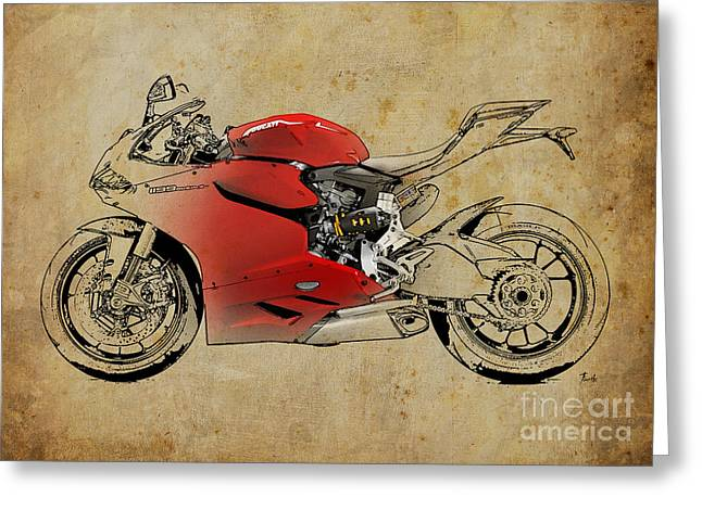 Motorcycles Mixed Media Greeting Cards - Ducati 1199 Panigale R WSBK 2013 Greeting Card by Pablo Franchi