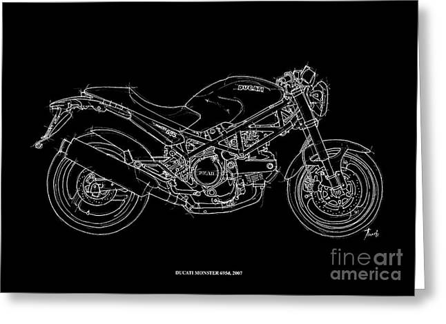 Recently Sold -  - White Drawings Greeting Cards - Ducati Monster 695d - 2007 Greeting Card by Pablo Franchi