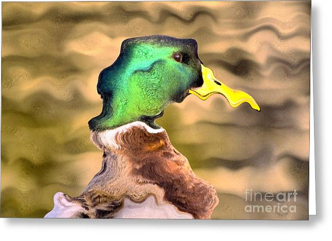 Covered Head Paintings Greeting Cards - Duck portrait Greeting Card by Odon Czintos