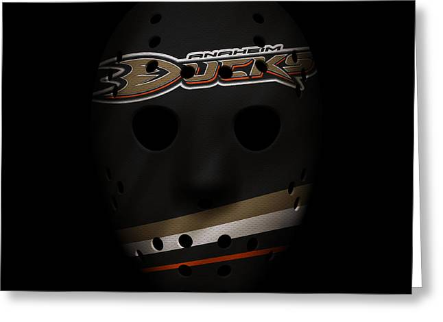 Hockey Greeting Cards - Ducks Jersey Mask Greeting Card by Joe Hamilton