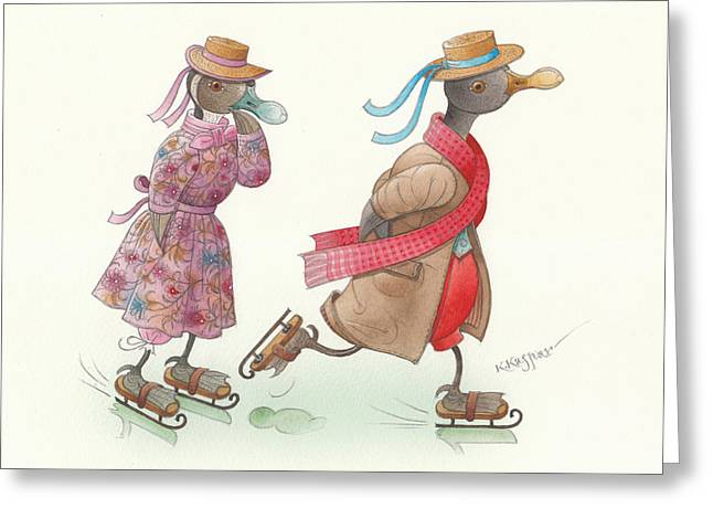 Ducks. Christmas Card. Greeting Card. Greeting Cards - Ducks on skates 15 Greeting Card by Kestutis Kasparavicius