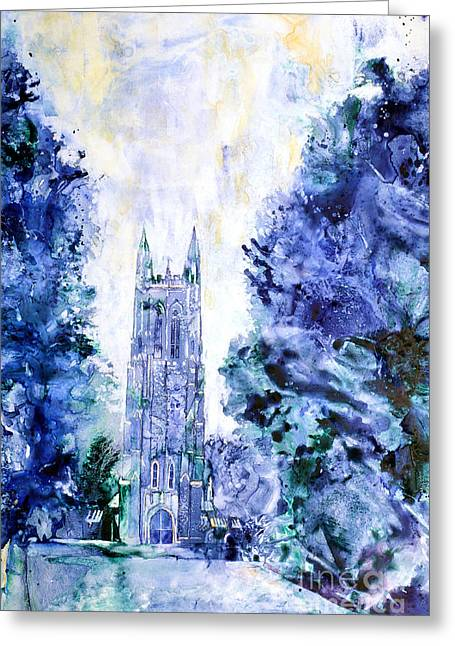 Duke Paintings Greeting Cards - Duke Chapel Greeting Card by Ryan Fox