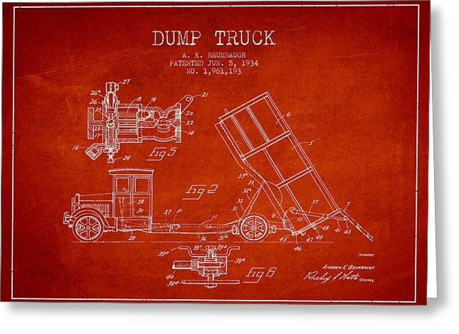 Truck Digital Greeting Cards - Dump Truck patent drawing from 1934 Greeting Card by Aged Pixel