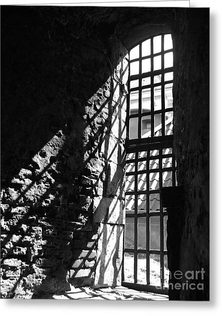 Cellar Greeting Cards - Dungeon Window Inside Greeting Card by Antony McAulay