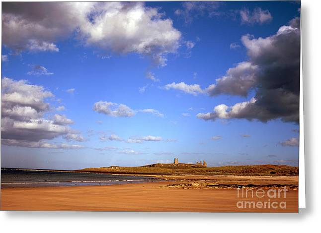 Embleton Greeting Cards - Dunstanburgh Castle from beach at Embleton Bay Embleton Northumberland England Greeting Card by Michael Walters