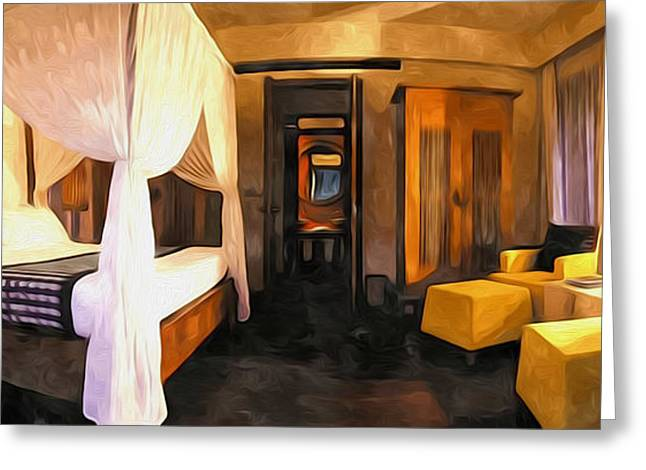 Lounge Paintings Greeting Cards - Duplex Villa Greeting Card by Lanjee Chee