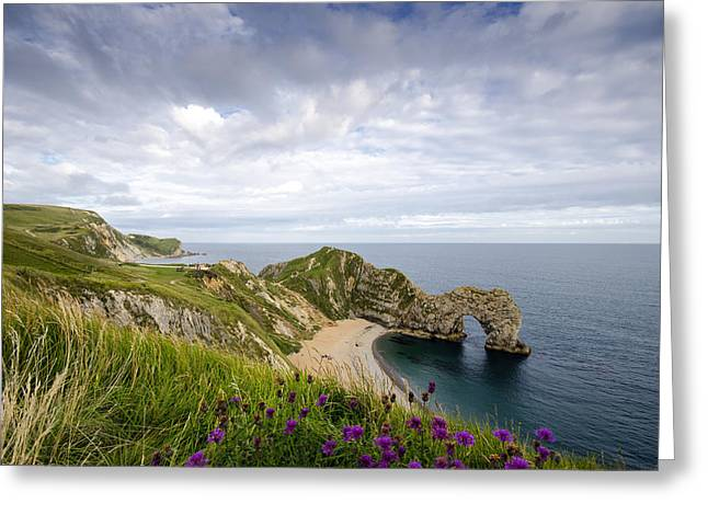 Dorset Greeting Cards - Durdle Door Greeting Card by Helen Hotson