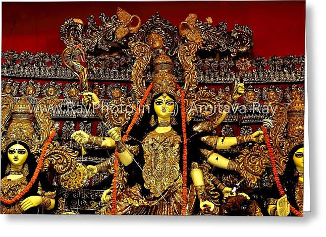 Durga Statue The Hindu Goddess #2 Greeting Card by Amitava Ray