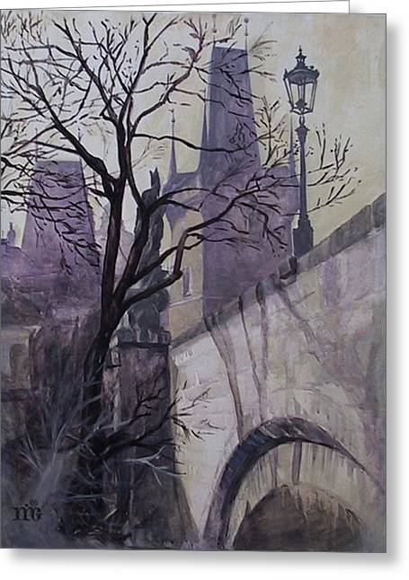 Charles Bridge Paintings Greeting Cards - Dusk at The Charles Bridge Greeting Card by Marina Gnetetsky