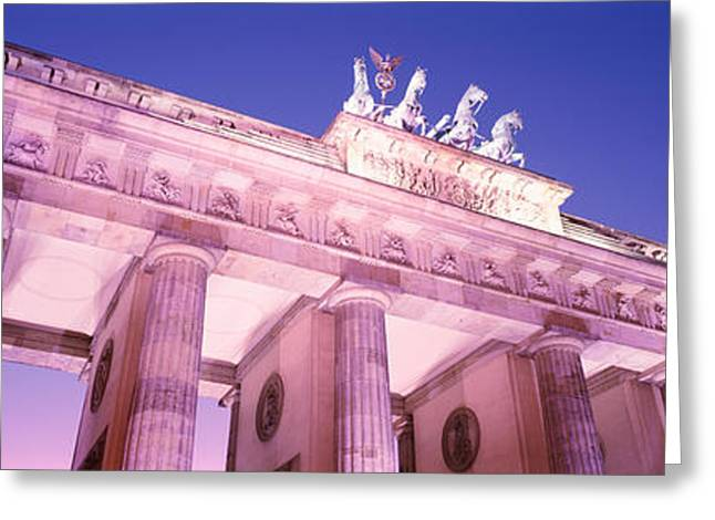 Historic Statue Greeting Cards - Dusk, Brandenburg Gate, Berlin, Germany Greeting Card by Panoramic Images