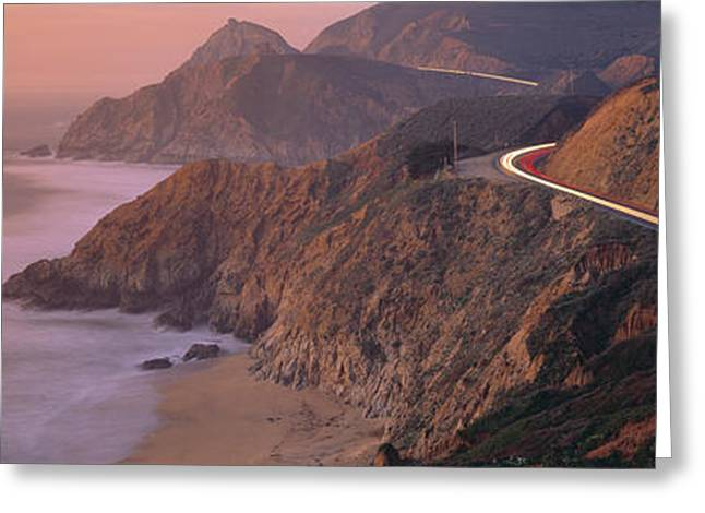 Highway Greeting Cards - Dusk Highway 1 Pacific Coast Ca Usa Greeting Card by Panoramic Images