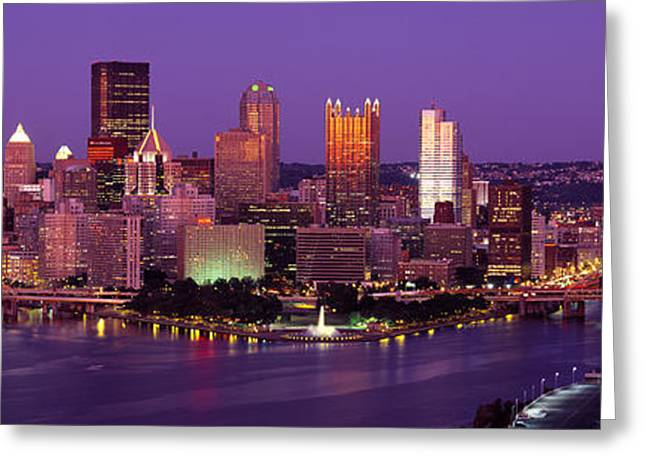 Pittsburgh Greeting Cards - Dusk Pittsburgh Pa Usa Greeting Card by Panoramic Images