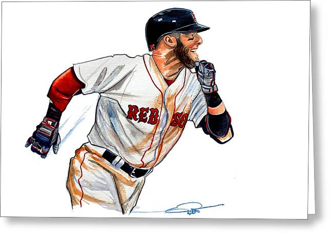Espn Greeting Cards - Dustin Pedroia Greeting Card by Dave Olsen