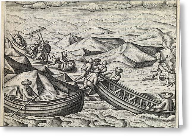Barrel Roll Greeting Cards - Dutch Northeast Arctic Expedition, 1596-7 Greeting Card by Middle Temple Library