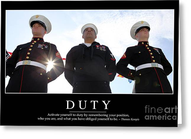 Arms Behind Back Greeting Cards - Duty Inspirational Quote Greeting Card by Stocktrek Images