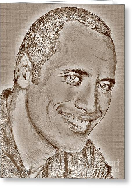Johnson Mixed Media Greeting Cards - Dwayne Johnson in 2007 Greeting Card by J McCombie