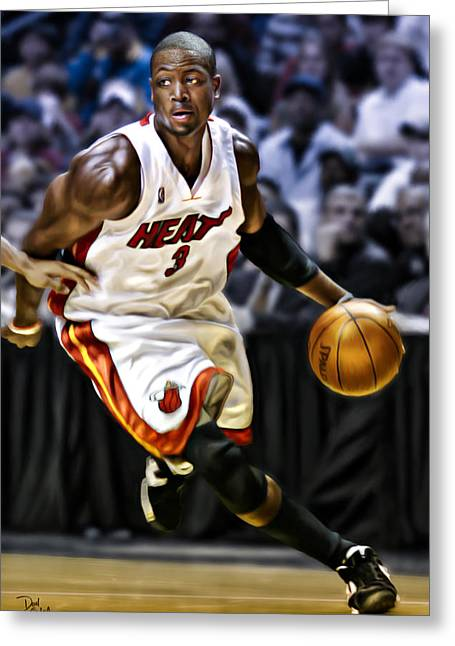 Chris Bosh Greeting Cards - Dwayne Wade Greeting Card by Don Olea