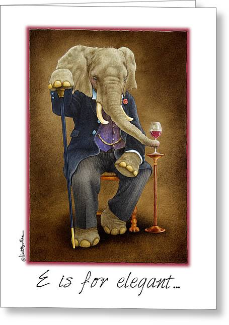 Elephant Drinking Greeting Cards - E is for elegant... Greeting Card by Will Bullas