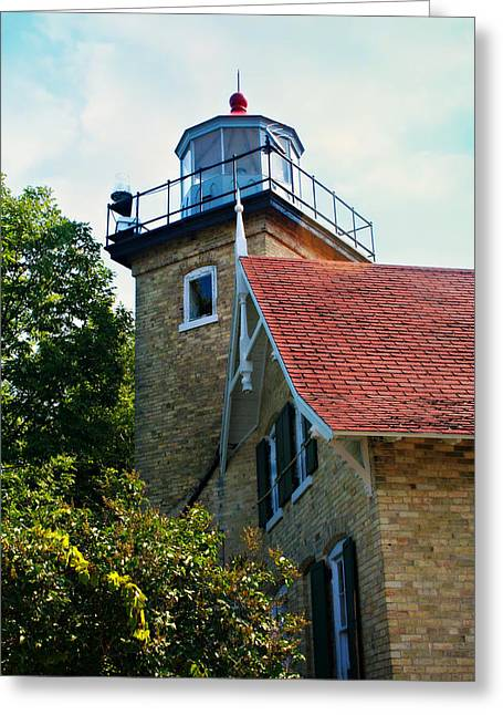 Eagle Bluff Lighthouse Greeting Cards - Eagle Bluff Lighthouse At Peninsula State Park Greeting Card by Jeanette Fellows
