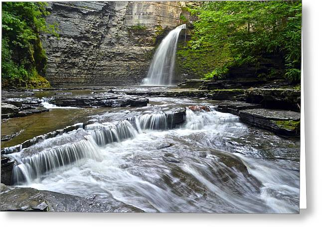 Finger Lakes Greeting Cards - Eagle Cliff Falls Greeting Card by Frozen in Time Fine Art Photography