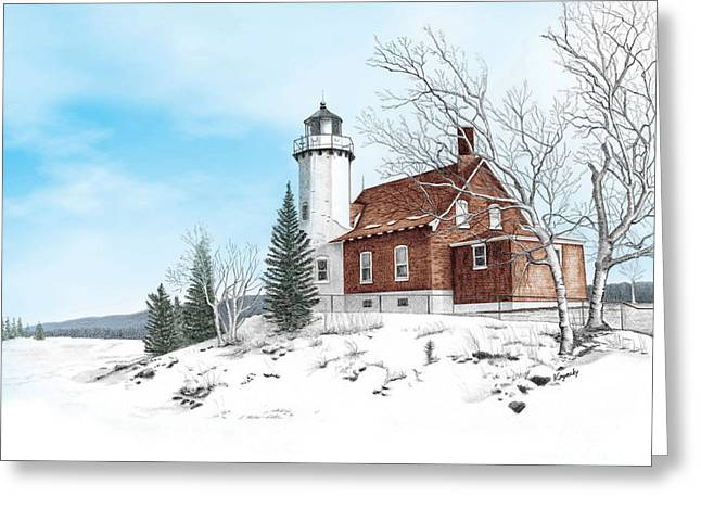Darren Mixed Media Greeting Cards - Eagle Harbor Lighthouse Greeting Card by Darren Kopecky