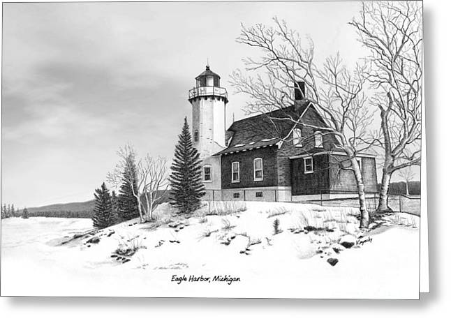 Darren Mixed Media Greeting Cards - Eagle Harbor Lighthouse Titled Greeting Card by Darren Kopecky