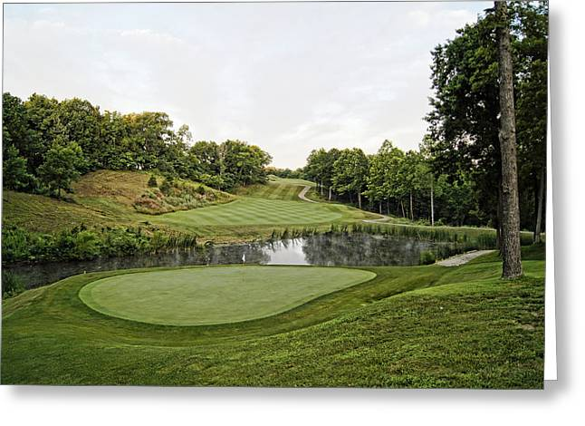 Hartsburg Greeting Cards - Eagle Knoll - Hole Fourteen From the Green Greeting Card by Cricket Hackmann