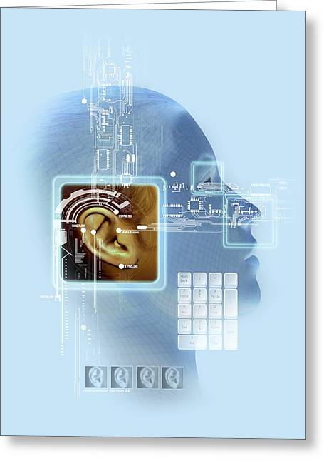 Human Ear Greeting Cards - Ear biometrics, artwork Greeting Card by Science Photo Library