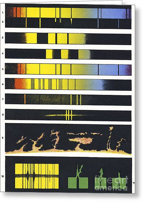 Spectra Greeting Cards - Early Astronomical Spectroscopy Greeting Card by Sheila Terry