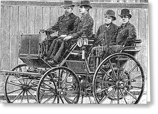 European Artwork Greeting Cards - Early Daimler Automobile, 1880s Greeting Card by Bildagentur-online