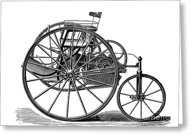 European Artwork Greeting Cards - Early Electric Tricycle, 1881 Greeting Card by Bildagentur-online