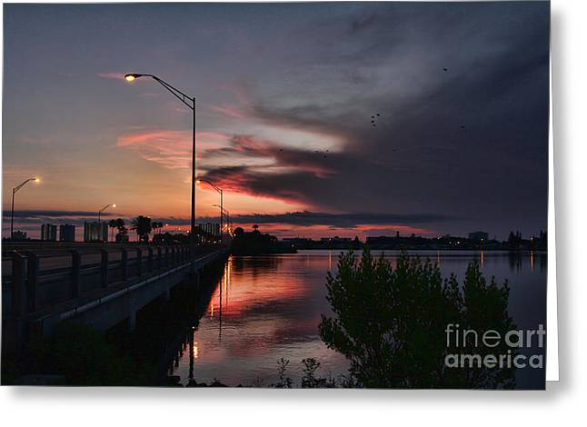 Streetlight Greeting Cards - Early Morning View Greeting Card by Deborah Benoit