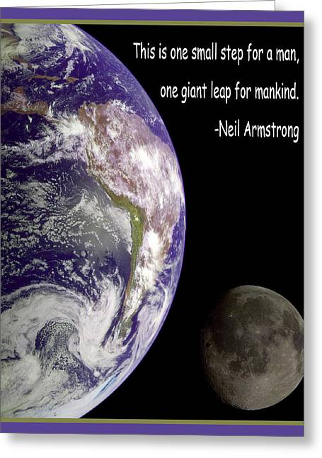 Planet Earth Greeting Cards - Earth And Moon Neil Armstrong Quote Greeting Card by Nasa