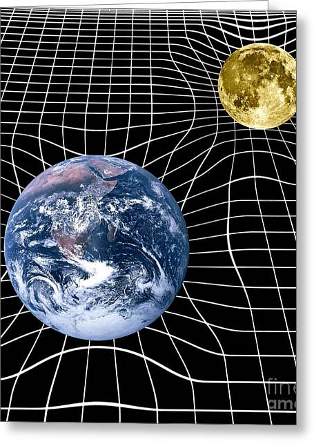 Time And Space Greeting Cards - Earth And Moon Space-time Warp, Artwork Greeting Card by Victor de Schwanberg