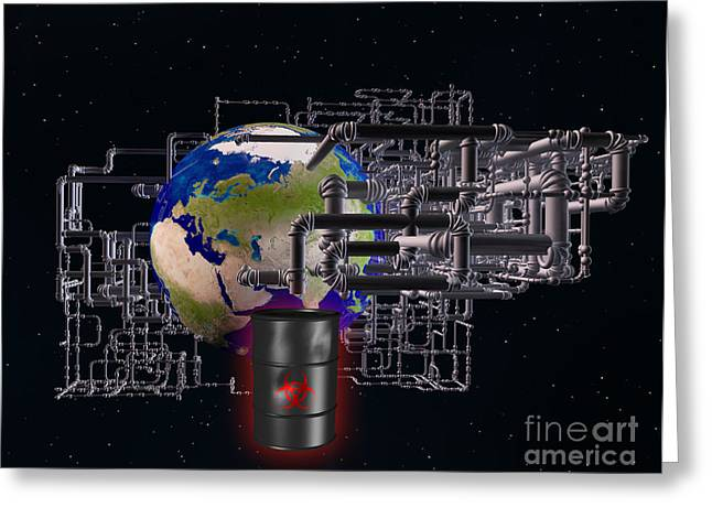 Toxic Waste Greeting Cards - Earth And Pipes Greeting Card by Scott Camazine