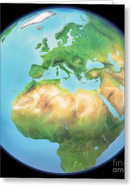 Northern Africa Greeting Cards - Earth Globe, Artwork Greeting Card by Gary Hincks