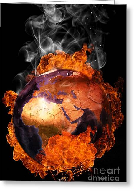 Temperature Greeting Cards - Earth in flames Greeting Card by Martin Capek