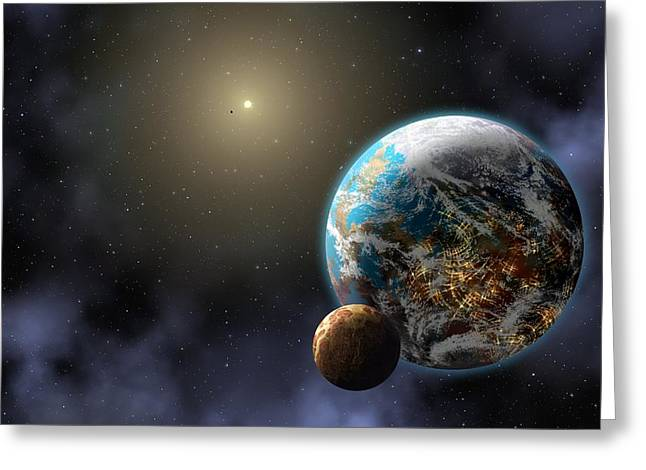 Extrasolar Planet Greeting Cards - Earth-like extrasolar planet, artwork Greeting Card by Science Photo Library