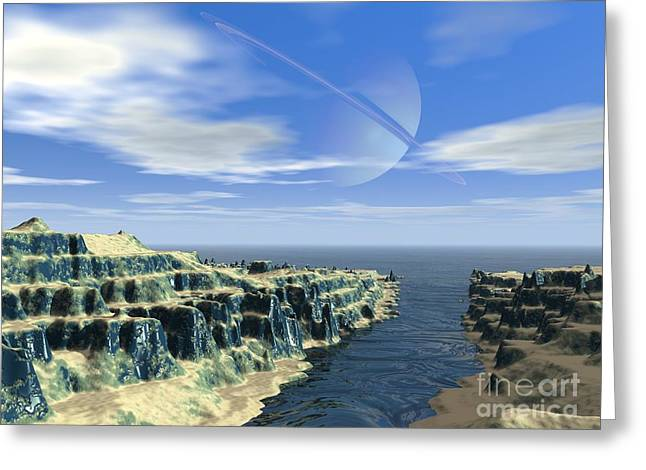 Ocean Vista Greeting Cards - Earthlike Moon, Conceptual Artwork Greeting Card by Walter Myers