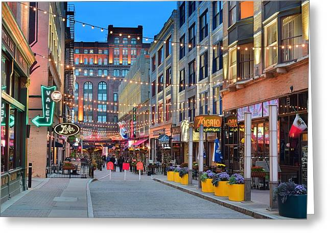 Indian Actor Greeting Cards - East Fourth Street in Cleveland Greeting Card by Frozen in Time Fine Art Photography