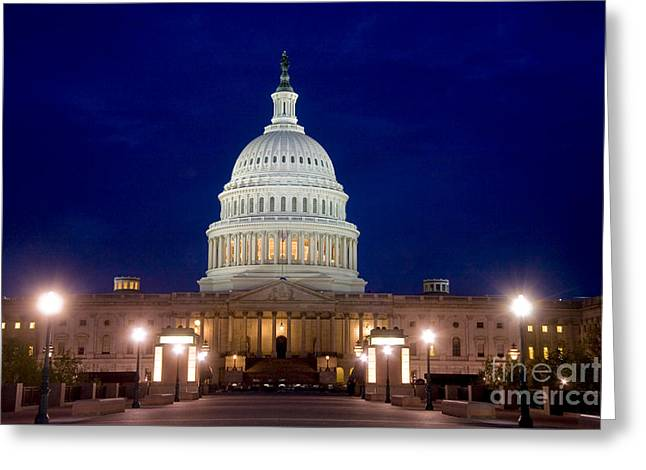 Night Lamp Greeting Cards - East Front Of U.s. Capitol Building Greeting Card by Spencer Grant