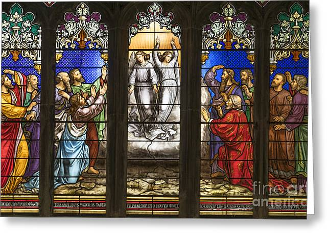 Burton Greeting Cards - East Window At St Leonards Church Greeting Card by John Potter