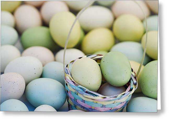 Special Occasion Greeting Cards - Easter Eggs And Basket Greeting Card by Darren Greenwood