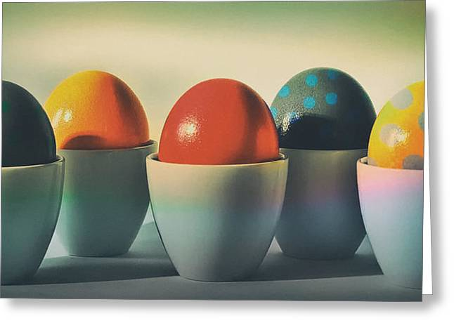 Egg-cup Greeting Cards - Easter Eggs Greeting Card by Anja Osenberg