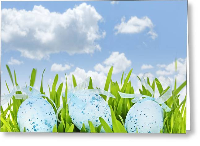 Coloured Greeting Cards - Easter eggs in green grass Greeting Card by Elena Elisseeva