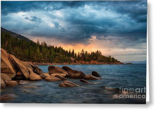 Rock Greeting Cards - Eastern Glow at Sunset Greeting Card by Anthony Bonafede